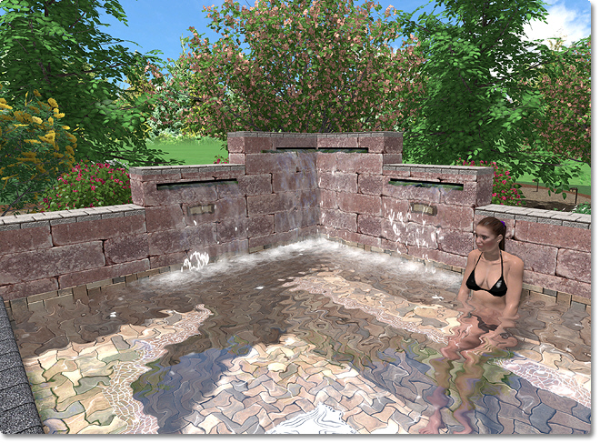 Great The Swimming Pool Design Shown Below Includes Several Waterfalls.  Customizing The Plan View