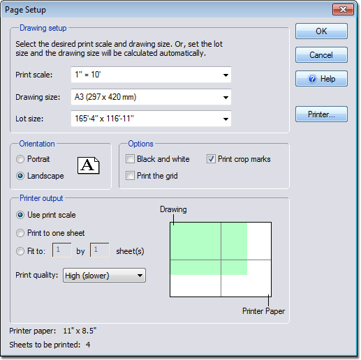Landscape Design Software By Idea Spectrum: Page Setup