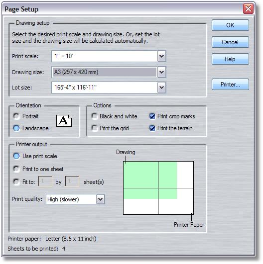 Landscape Design Software Page Setup