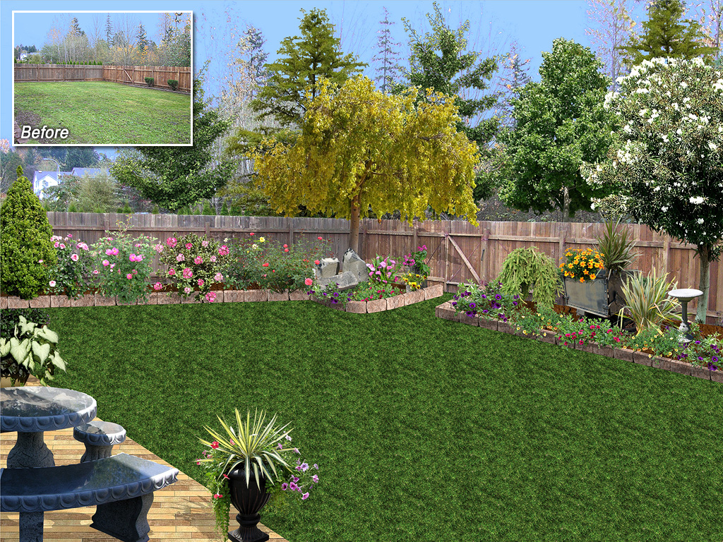 Landscaping software by idea spectrum realtime for Backyard landscaping pictures