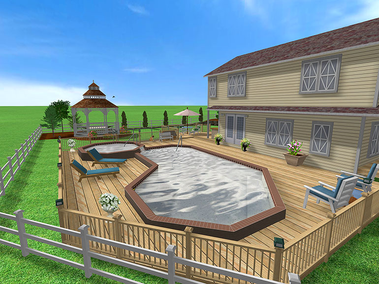 This swimming pool design was created using Realtime Landscaping Pro ...