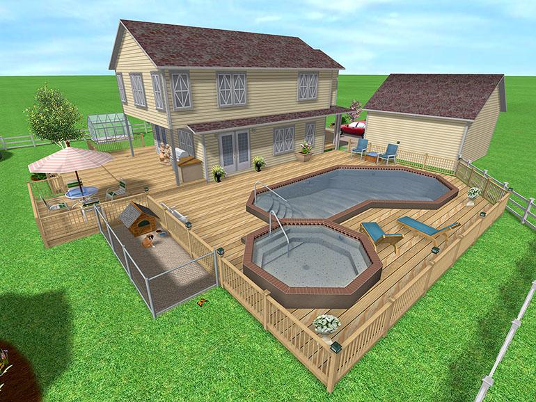 Beginner learn free landscape design software using for Pool deck design software