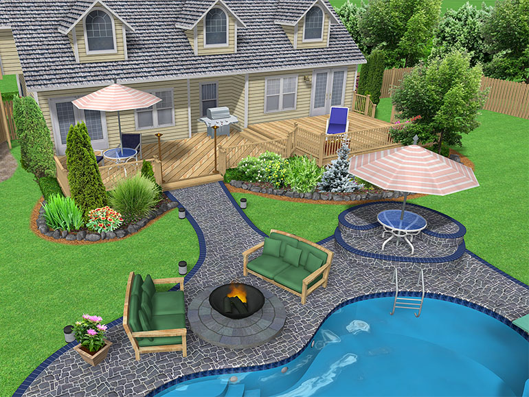 Landscape design software gallery page 3 for Pool landscaping ideas