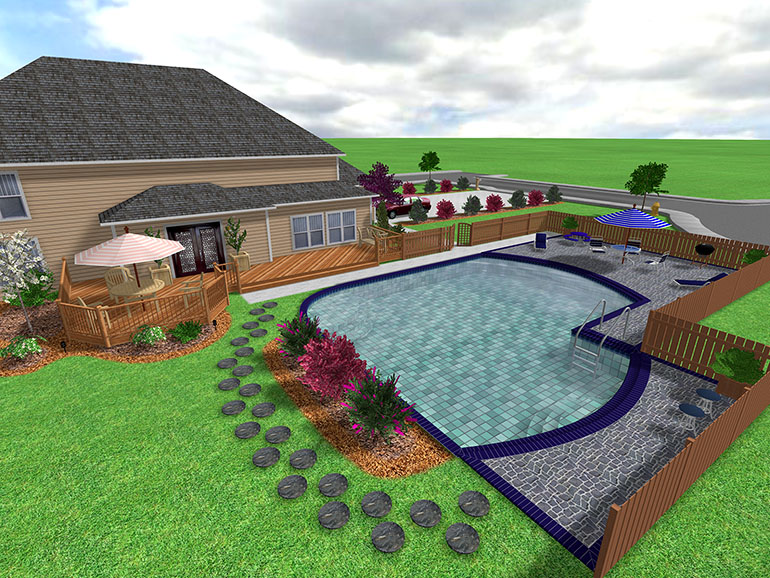 Backyard Pool Design Tool : size or shape using our deck design tools Incorporate swimming pools