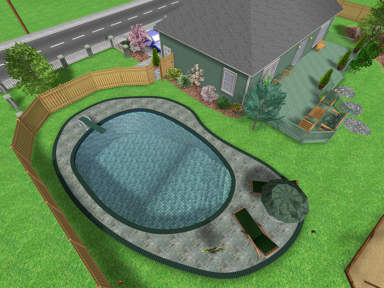 Ariel View Of A Swimming Pool Design
