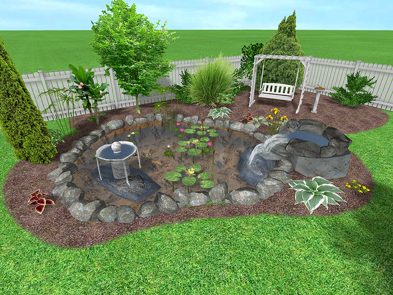 pool and surrounding landscape designed using Realtime Landscaping