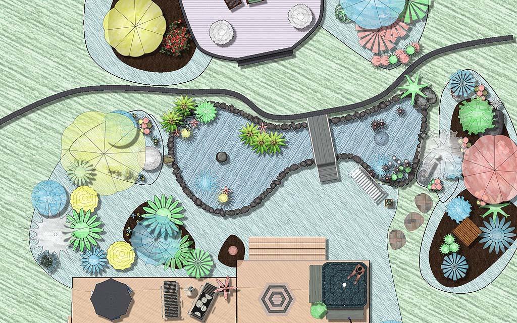 Professional landscape design software gallery for Pond design plans
