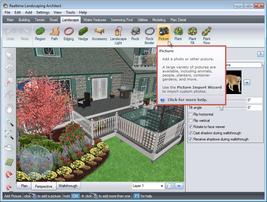 Add a picture to your landscape design using the Picture button