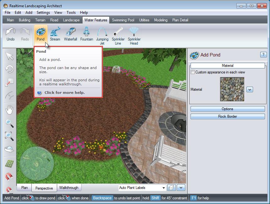 Landscape design software tutorials for Design a pond software