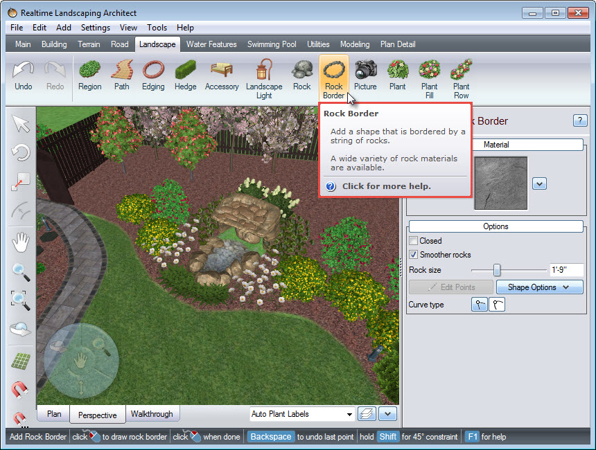 Add a rock border to your landscape using the Rock Border button