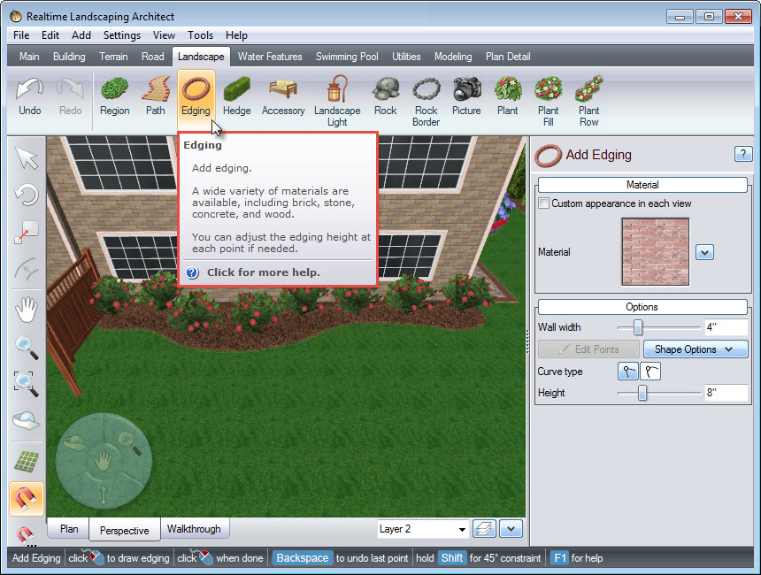 Edging button on Realtime Landscaping Architect