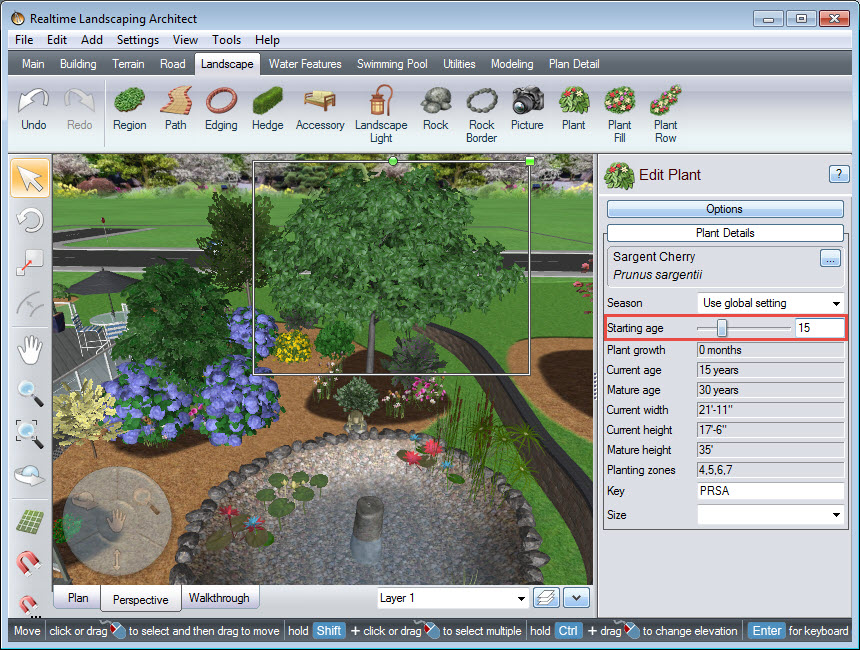 Adjust the plant age in your landscape design