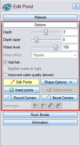 Edit the dimensions of your pond using these options