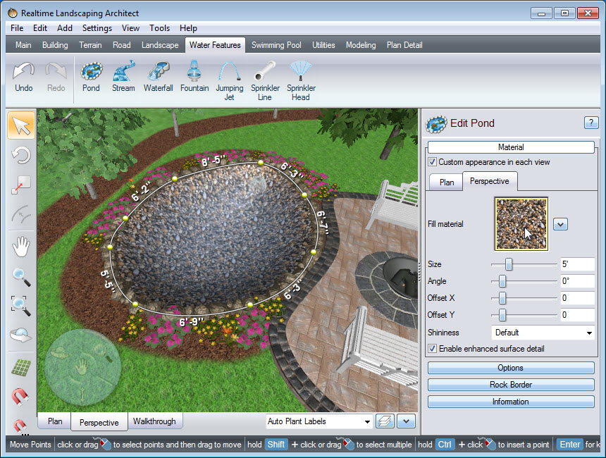 Place points in your landscape design, to create the outline of your pond
