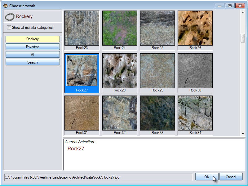 Choosing the material for your rock border is easy with our landscaping software