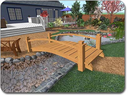 Adding custom models to your landscape designs for Wooden pond ideas
