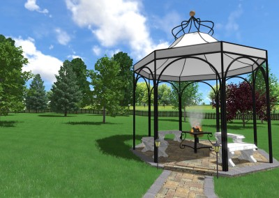 3D Design with Grass and Gazebo