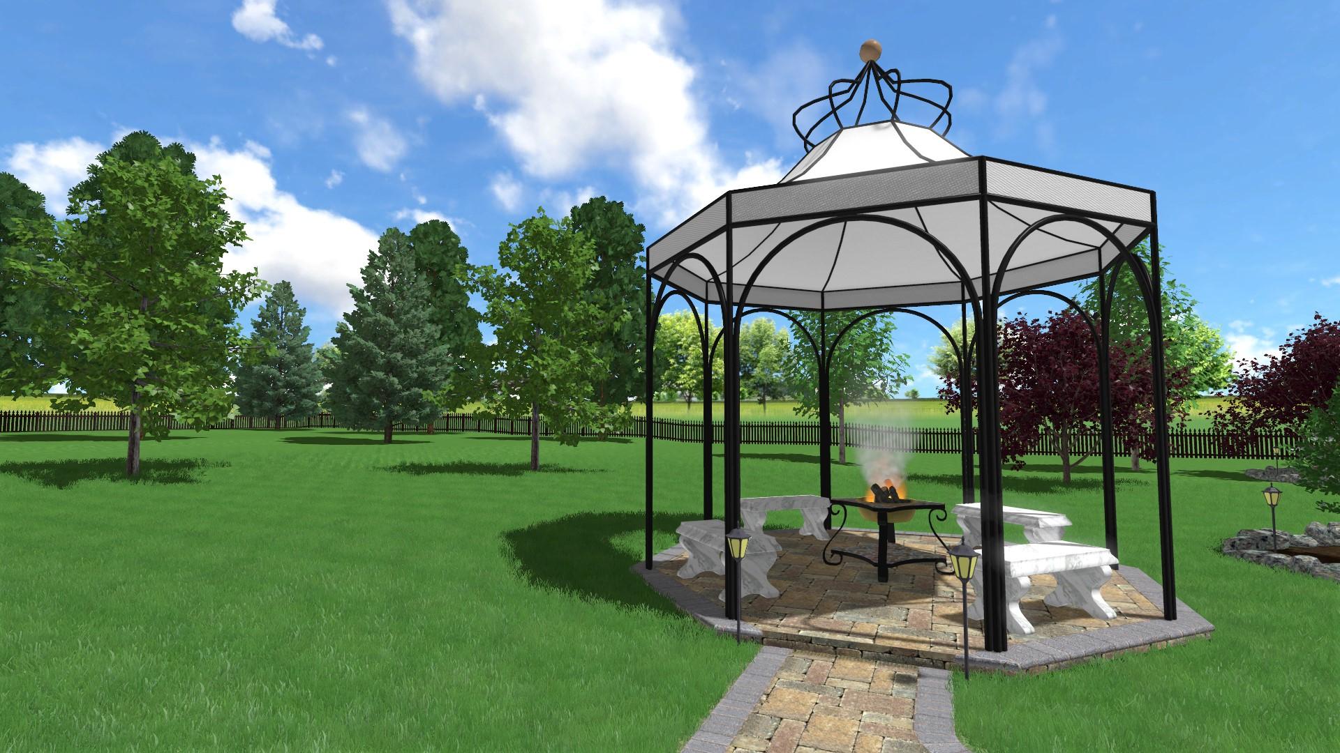 Front Landscape Design With A Small Gazebo: Landscape Design Software Gallery