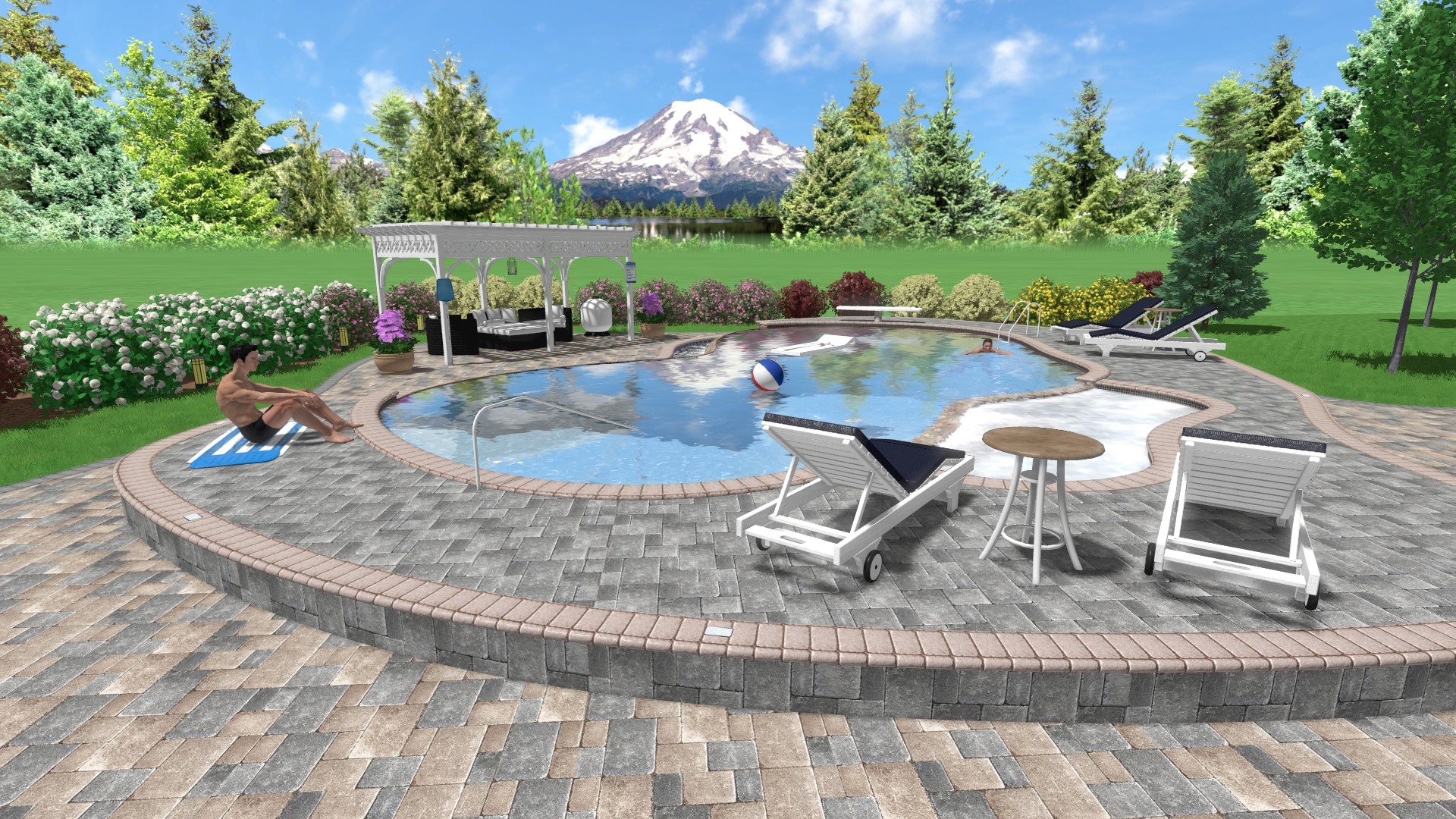 3D Landscape Design With Pool