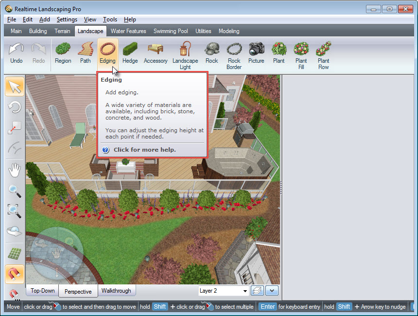 Edging button on Realtime Landscaping Pro