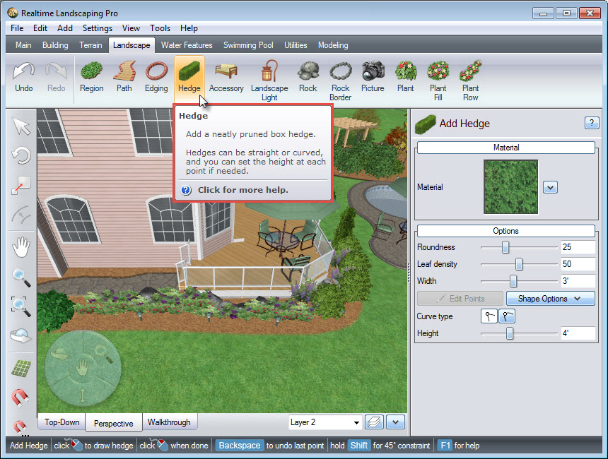Adding a hedge is quick and easy with the Hedge button