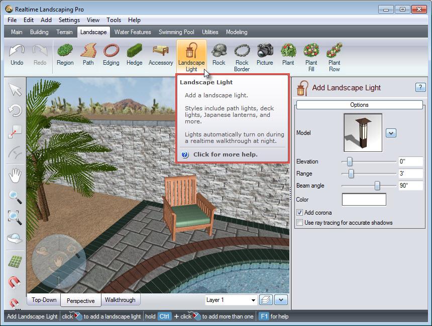 Adding a 3D landscape light using the Landscape Light button