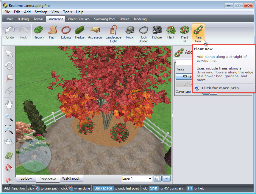 Adding a plant row to your landscape design using the Plant Row button