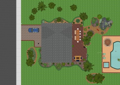 Top-Down View of House and Swimming Pool