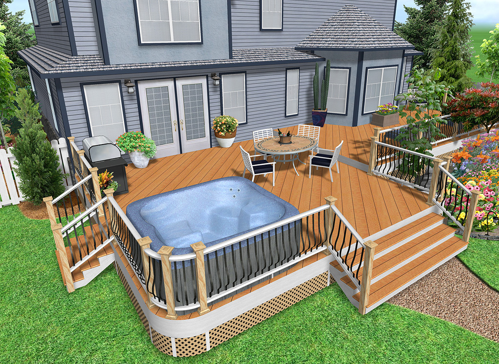 Landscape with Realistic 3D Deck Design