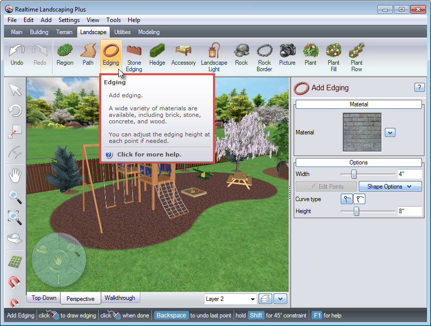 Edging button on Realtime Landscaping Plus