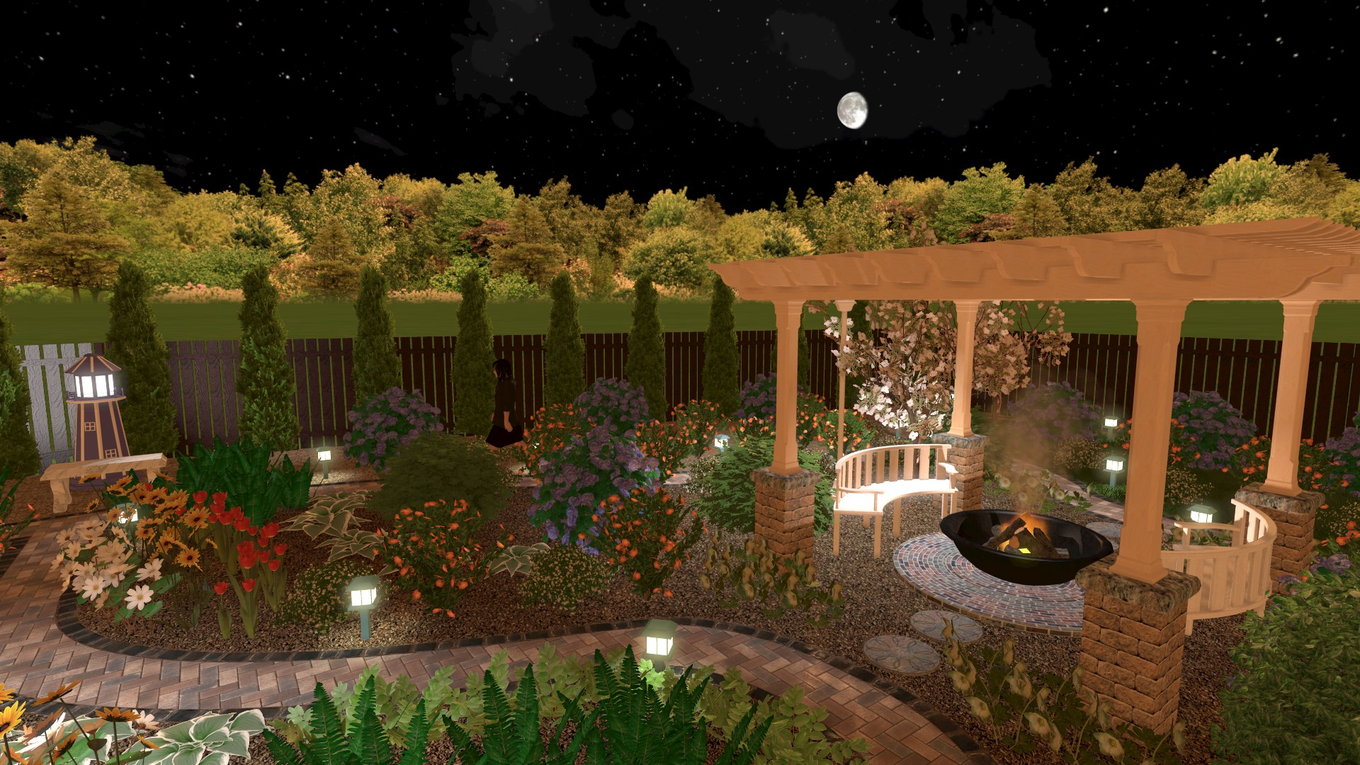 Evening 3D Design With Garden And Fireplace