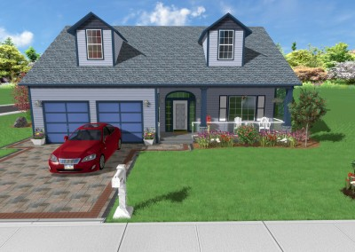 Front Yard and Driveway 3D Landscape