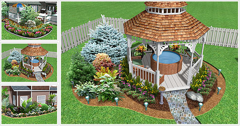 3d garden landscape outdoor designer planning model for Garden design yates
