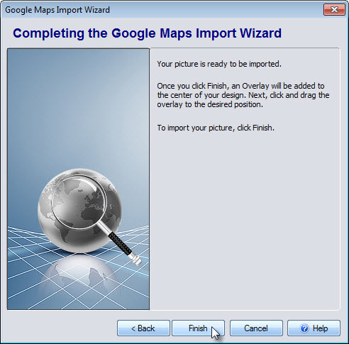 Click Finish to import your Google Maps image