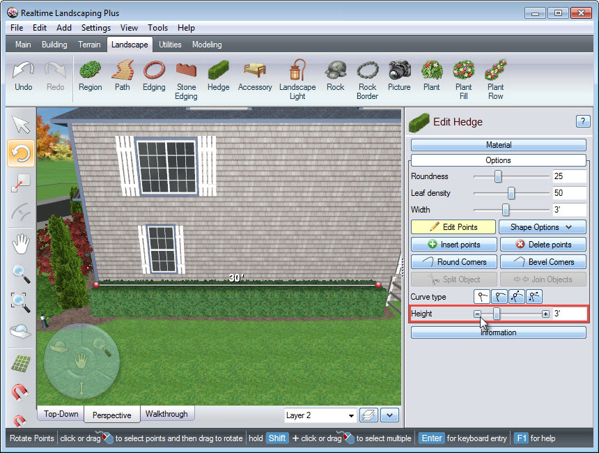 Adjusting the hedge height using our software