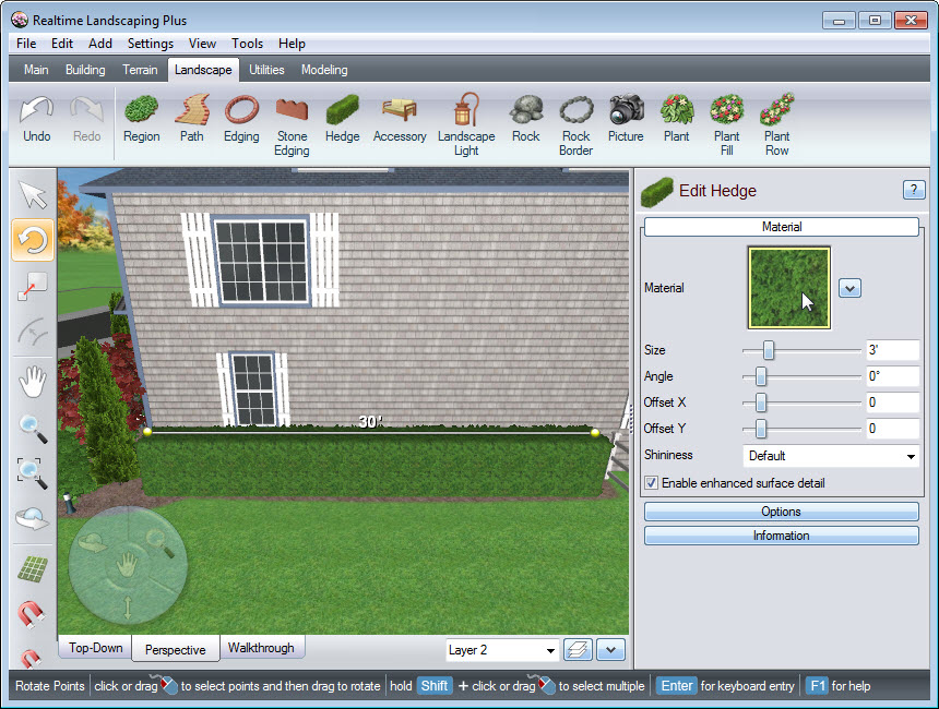 Place points to create the line of your hedge in your landscape design