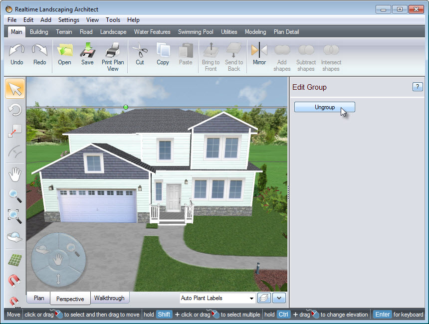 Position the house where you desire, and click Ungroup to further customize your house