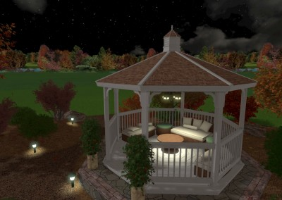 Landscape Design at Night with Gazebo