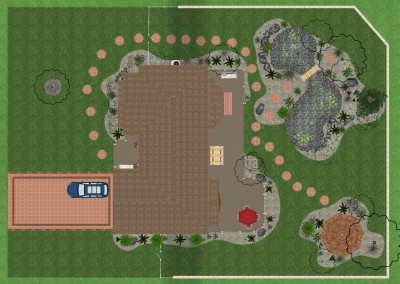 Landscape Design with Pond and Gazebo