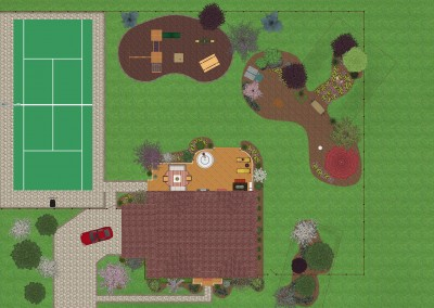Landscape Design with Tennis Court