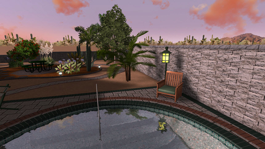 You have completed adding an outdoor light to your landscape design