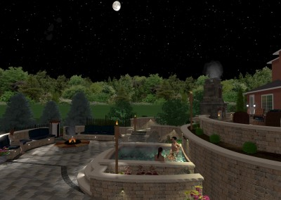 Nighttime Spa Landscape Design