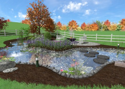 Landscape with Outdoor Pond Design