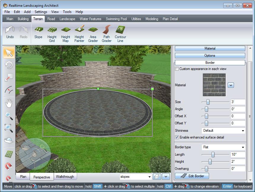 Use the border to create a circular patio