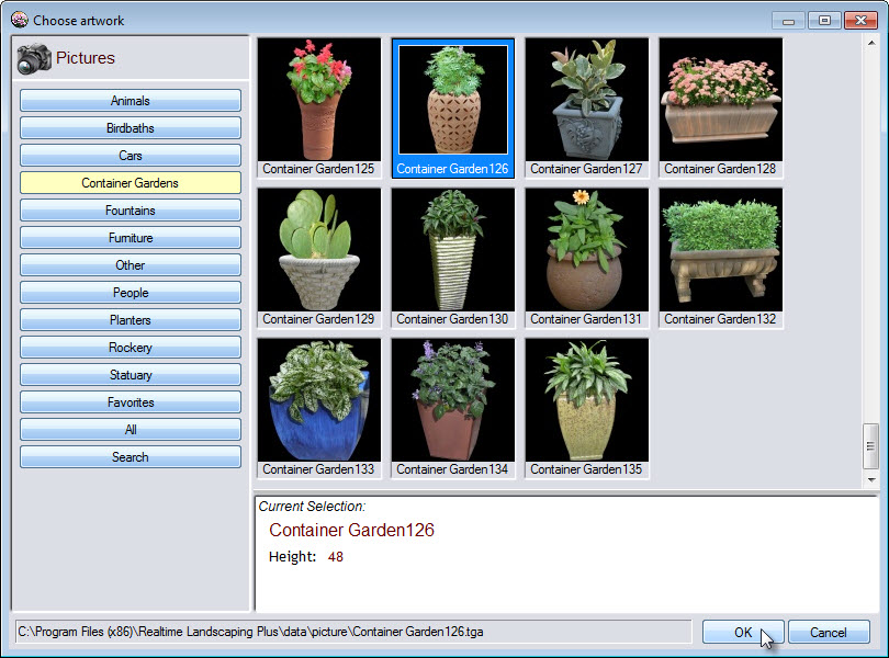 Select a picture from a large selection of landscaping objects