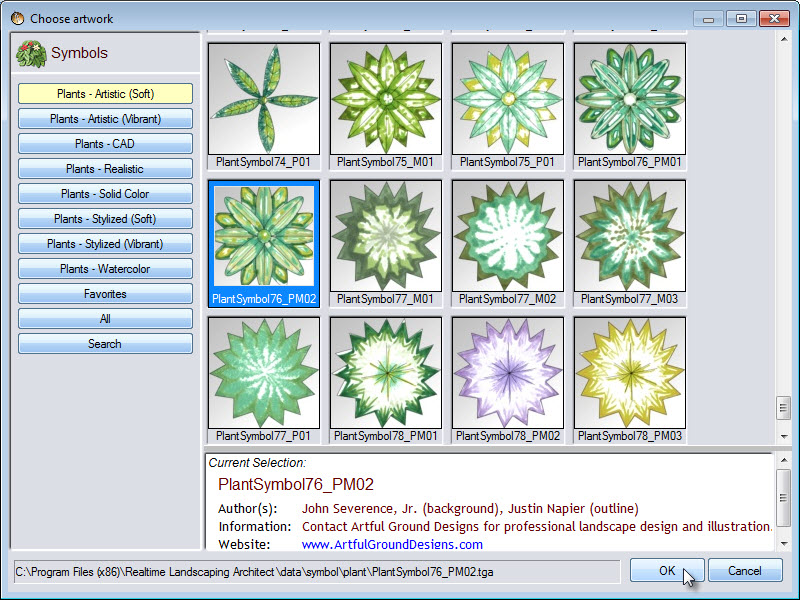 Choose from a selection of plant symbols for the plan view