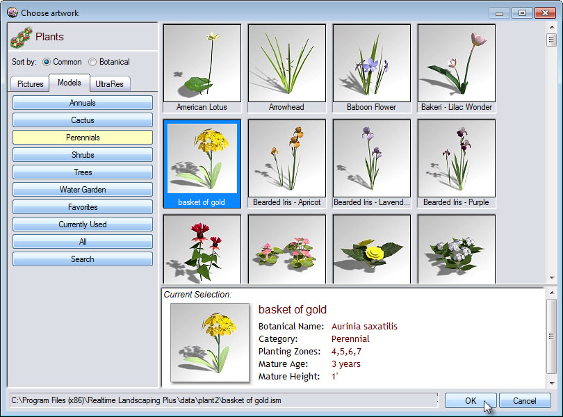 Choose the type of plant you want to add to your plant row