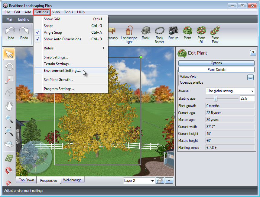 Customize plant appearance using the Environment settings of our software