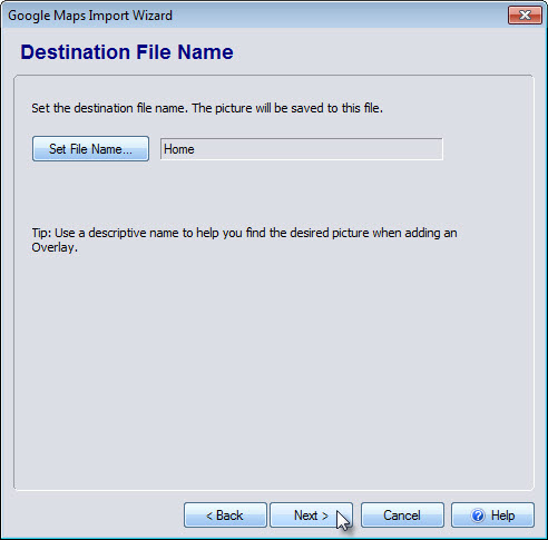 Save the file name desired for your map