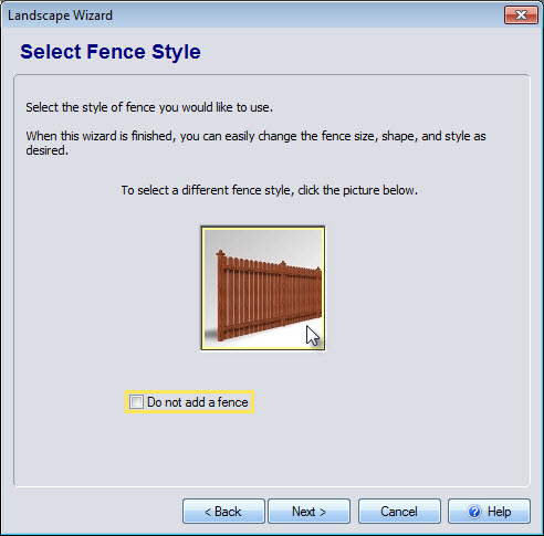 Select a fence in the Wizard